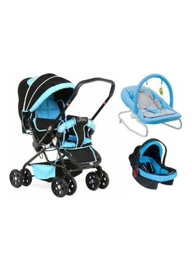 Rival Lucido Çift Yönlü Bebek Arabası + Taşıma Puset + Ev Tipi Anakucağı Mavi